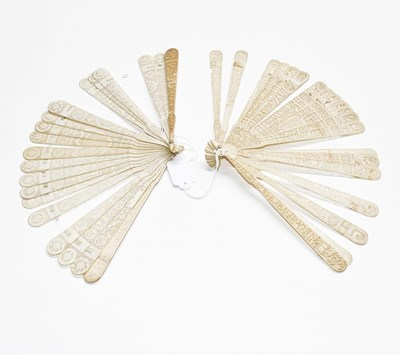Lot 1067 - A late 18th century carved ivory Chinese...