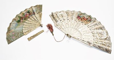 Lot 1069 - Two late 18th century carved ivory fans,...