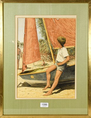Lot 1086 - A.S Ashmole (20th century) Boy resting on a...