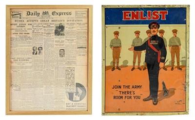 Lot 24 - An Interwars Printed Tin Recruiting Poster -...