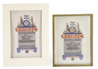 Lot 94 - Two German Third Reich Urkundes (Certificates)...