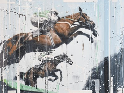 Lot 1032 - Kris Hardy (Contemporary) ''The Racehorses''...