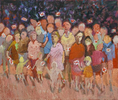 Lot 1048 - Terry Beswick (Contemporary) Crowd waiving...