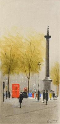 Lot 1052 - Anthony Klitz (1917-2000) Figures on a London...