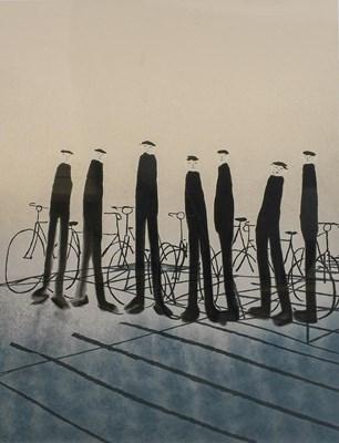 Lot 1007 - Mackenzie Thorpe (b.1956) ''Men with Bikes''...
