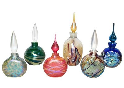 Lot 10 - Okra glass comprising six scent bottles, one...