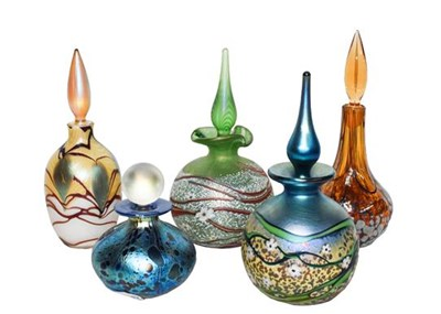 Lot 11 - Okra glass comprising five scent bottles, one...