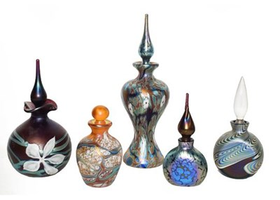Lot 12 - Okra glass comprising five scent bottles, one...