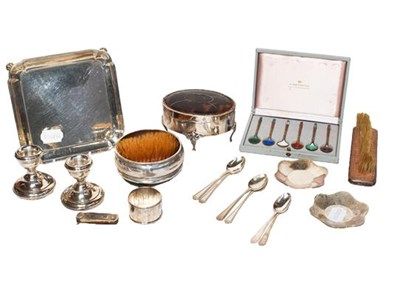 Lot 14 - A tray of silver items including a George V...