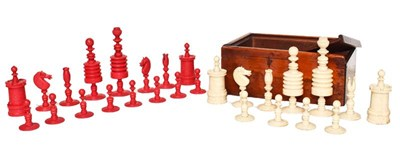 Lot 18 - A 19th century carved and turned ivory chess...