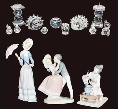 Lot 23 - Three Lladro figures including a Geisha, a...