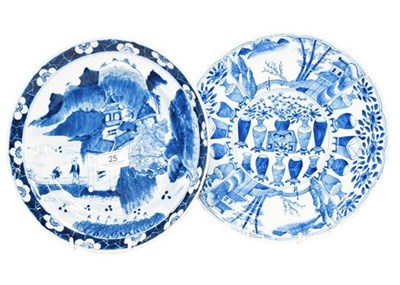 Lot 25 - A Chinese Kangxi blue and white dish with...