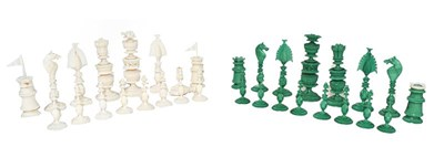 Lot 35 - A 19th century Indian ivory chess set, finely...