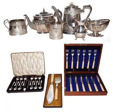 Lot 41 - A collection of silver plated ware including a...