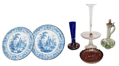 Lot 49 - A pair of Burleigh ware blue printed wall...