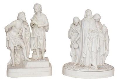 Lot 53 - Two Victorian Parian figure groups, one titled...