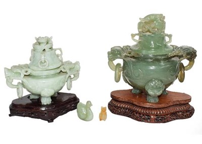 Lot 62 - A modern Chinese jade censer and cover on...