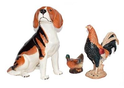 Lot 63 - A large Beswick model of a seated beagle 32cm,...