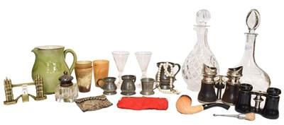 Lot 69 - A pair of opera glasses, three horn beakers,...