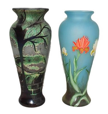 Lot 7 - Okra glass, comprising: a trial pattern vase...