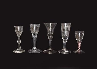Lot 72 - Five Georgian glasses comprising three wine...