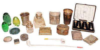 Lot 74 - A tray of assorted silver, metalware and glass,...