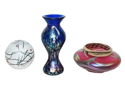 Lot 8 - Okra glass, comprising: an iridescent vase,...