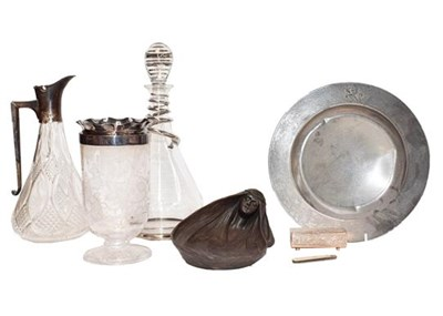 Lot 92 - A Victorian silver mounted cut glass claret...