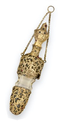 Lot 16 - A Silver-Gilt Mounted and 'Gem'-Set Glass...