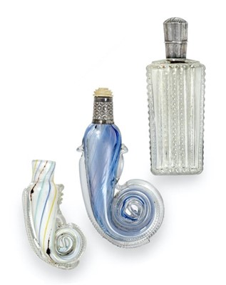 Lot 26 - Two Glass Scent-Bottles, each with rolled end,...