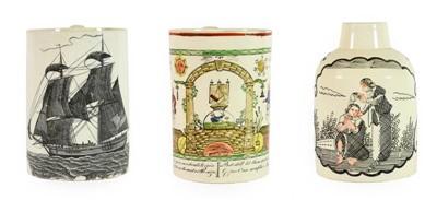 Lot 92 - A Creamware Mug, probably Liverpool, circa...