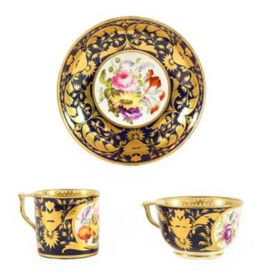 Lot 95 - A Derby Porcelain Trio, circa 1820, painted...