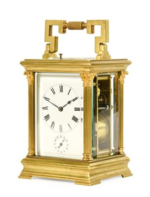 Lot 566 - A Brass Striking and Repeating Alarm Carriage...