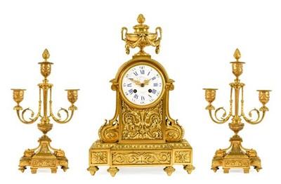 Lot 568 - A French Ormolu Striking Mantel Clock with...