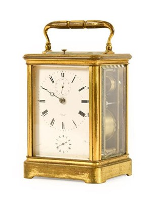 Lot 571 - A Brass Striking and Repeating Alarm Carriage...