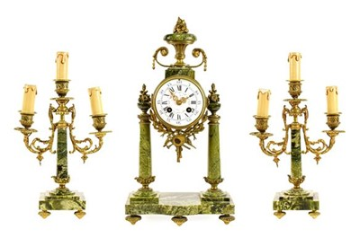 Lot 577 - A French Green Marble Portico Striking Mantel...