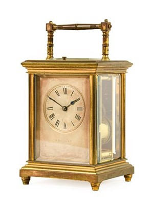 Lot 579 - A Brass Striking and Repeating Carriage Clock,...