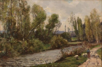 Lot 362 - Herbert Hughes Stanton (1870-1937) Shepherdess...