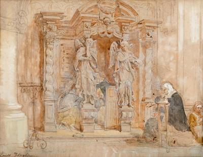 Lot 371 - Louis Haghe (1806-1895) Nuns kneeling in...