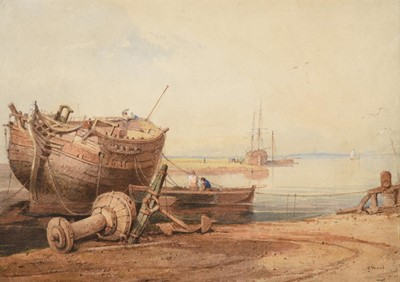 Lot 354 - Samuel Prout OWS (1783-1852) The breaking of a...