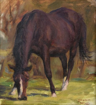 Lot 355 - Donald Wood (1889-1953) Grazing horse Signed,...