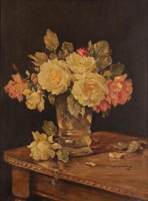 Lot 439 - Owen Bowen ROI (1873-1967) Still life of roses...