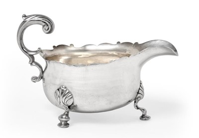 Lot 2014 - A George II Silver Sauceboat, Maker's Mark...