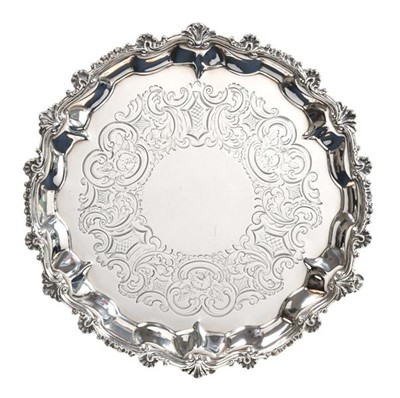 Lot 2041 - A George III and Later Silver Waiter, Probably...