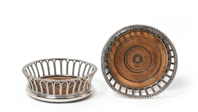 Lot 2053 - A Pair Silver Plate Wine-Coasters, Apparently...