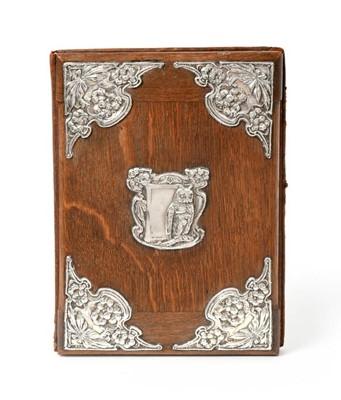 Lot 2072 - An Edward VII Silver-Mounted Oak Desk-Blotter,...