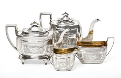 Lot 2008 - A Four-Piece George III Silver Tea-Service, by...