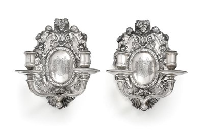 Lot 2087 - A Pair of George V Silver Two-light...
