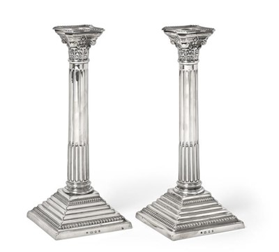 Lot 2092 - A Pair of George V Silver Candlesticks, by...