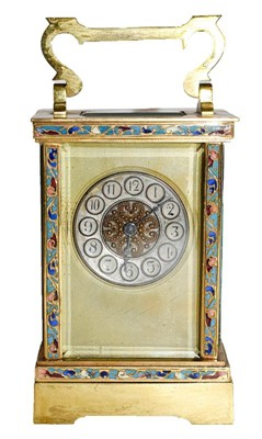 Lot 61 - A brass and champleve enamel carriage...